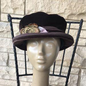 vintage 90's crushed velvet hat